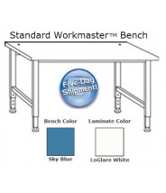 "IAC Industries Workmaster™ Series Quick Ship Standard Bench, Sky Blue, Adjustable Height, 36""D x 72""L"