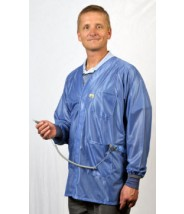 "Tech Wear Hallmark ESD-Safe Dual Monitor 32""L Jacket  With Cuff OFX-100 Color: Hi-Tech Blue Size: X-Large."